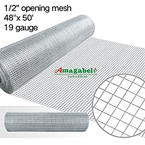 48 x 50 1/2inch Openings Square Mesh Welded Wire 19 Gauge Hot-dipped Galvanized Hardware Cloth Gutter Guards Plant Supports Poultry Enclosure Chicken Run Fence Indoor Rabbit Pen Cage Wire Window Doors