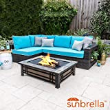 Lakeview Outdoor Designs Gentilly 3 Piece Wicker Patio Fire Pit Sectional Set W/Sunbrella Canvas Aruba Cushions