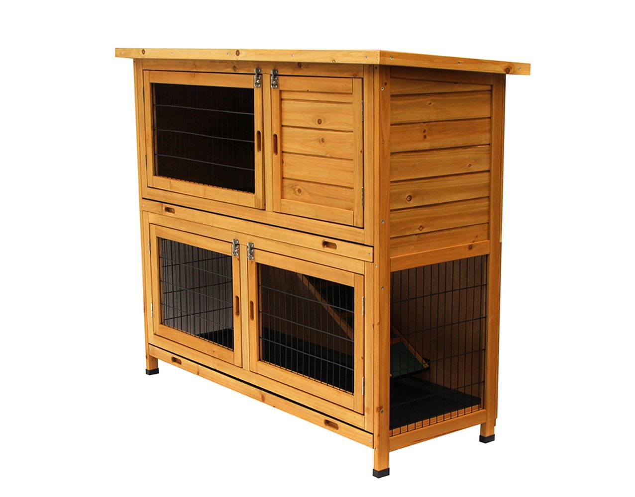 48'' Wood Rabbit Hutch Waterproof Wood Chicken Coop Hen House Poultry Cage 1029
