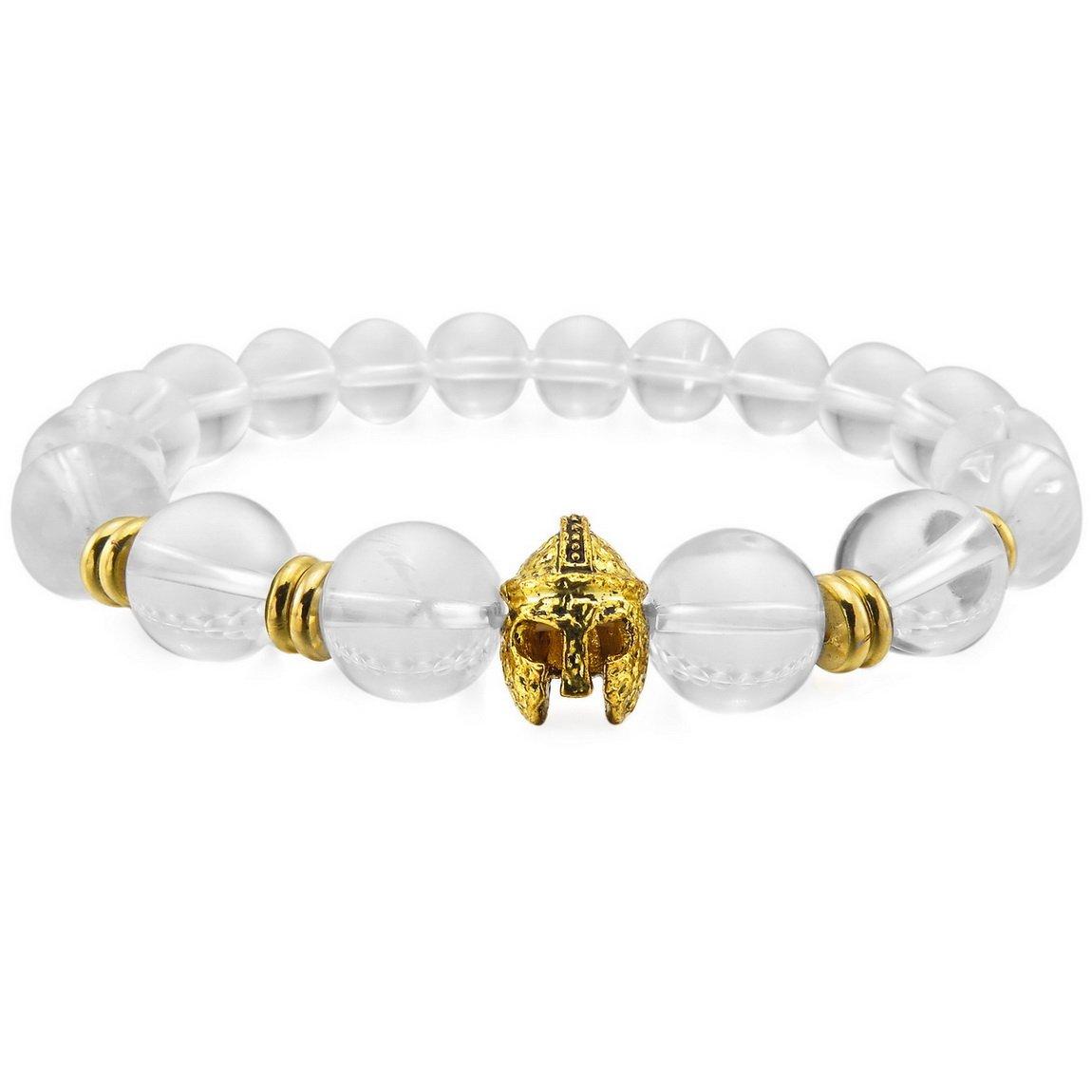 INBLUE Men,Women's 12mm Alloy Energy Bracelet Wrist Link Energy Stone Gold Tone Buddha Mala Bead Helmet Elastic INBLUE Jewelry mnb1411-12.0