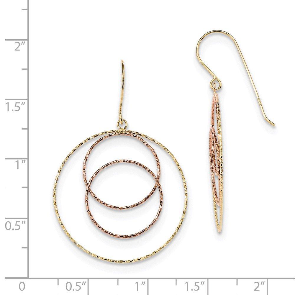 Mia Diamonds 14k Gold Yellow and Rose Diamond-Cut Graduated Circles Shepherd Hook Earrings