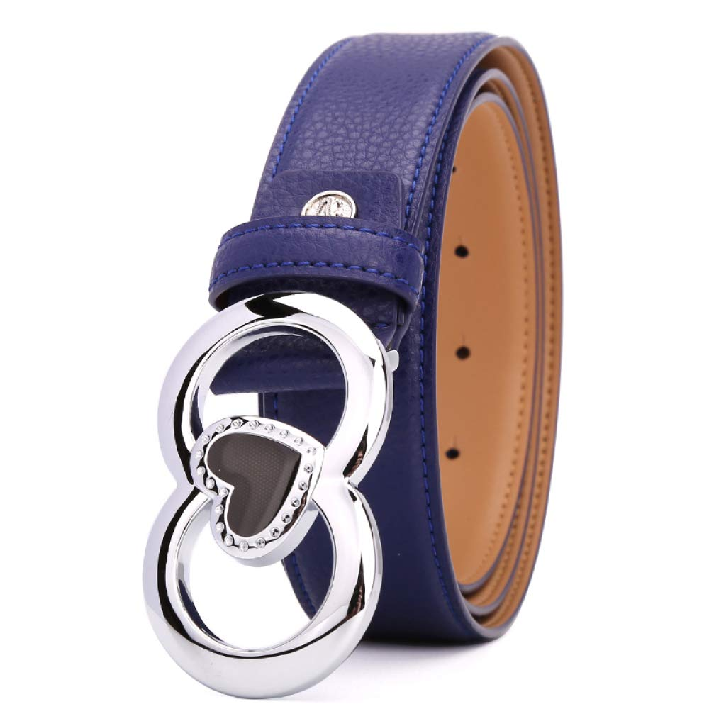 TRNMC Women's Leather Belt Leather Fashion Wild Smooth Buckle Wide Belt Belt,Blue,105CM