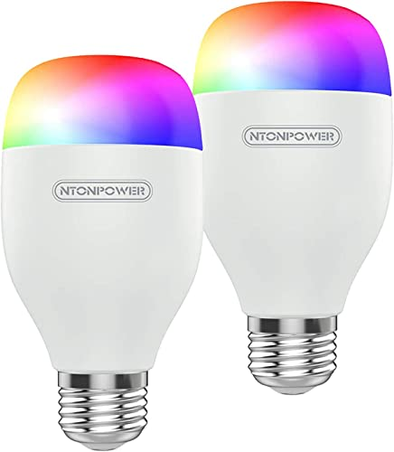 NTONPOWER Smart Light Bulb - E26 RGBCW WiFi Dimmable Multicolor LED Light Compatible with Siri, Alexa, Google Home and IFTTT No Hub Required 9W, 60W Equivalent, 800LM, 2800-6500k Color Changing Bulb