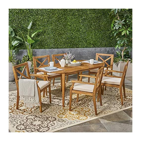 Great Deal Furniture Byrd Outdoor 7 Piece Acacia Wood Dining Set, Teak and Crème - For the aspiring homemaker, one's dining table is akin to an artist's canvas. This outdoor dining set will transform your backyard patio or dining area into your own personal veranda, making every night a special occasion. Six comfortable chairs surround an exquisitely-constructed acacia wood table. Love your neighbor, share a meal, create memories that will last a lifetime. Includes: One (1) Outdoor Dining Table and Six (6) Outdoor Dining Chairs. Cushion Material: Water Resistant Fabric. Frame Material: Acacia Wood. Fabric Composition: 100% Polyester. Cushion Color: Crème. Wood Finish: Teak. Hand Crafted Details. Some Assembly Required. - patio-furniture, dining-sets-patio-funiture, patio - 610MzJwsL%2BL. SS570  -