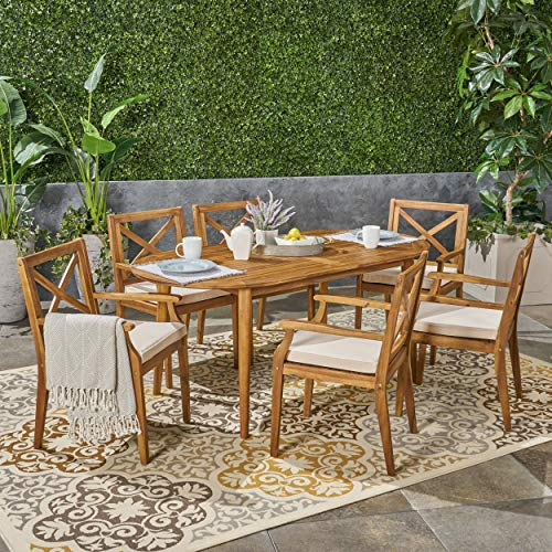 Great Deal Furniture Byrd Outdoor 7 Piece Acacia Wood Dining Set, Teak and Crème ()