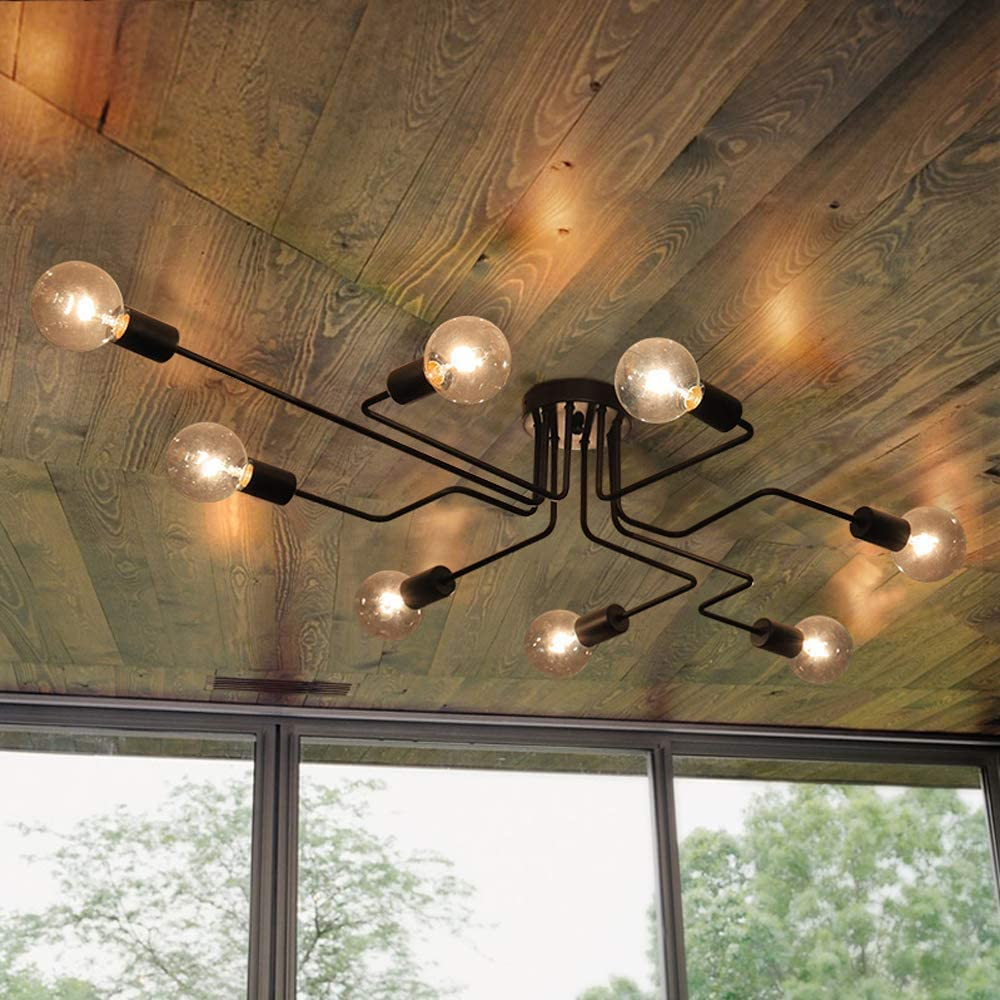 Details about Industrial 8 Light Semi Flush Mount Ceiling Light Chandeliers for Living Room