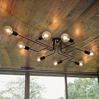 OYI Moderne Lustres Plafonniers Noir 8 E27 Pour Le Salon Chambre Restaurant  Café(Sans Ampoules