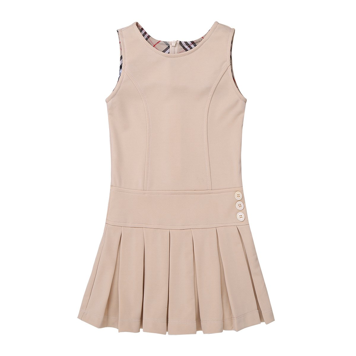 YiZYiF Girls' Kids' Stretchy Pleated Hem Durable School Uniform Jumper Dress Skirt Size 2-9 Khaki 4-5 by YiZYiF (Image #3)