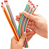 Multi Colored Striped Magic Pencil With Eraser, 12 Inches long, 20 Pcs. Soft Bendy Flexible For Kids- Great Fun!! Gift For Students or Children! By Mega Stationers