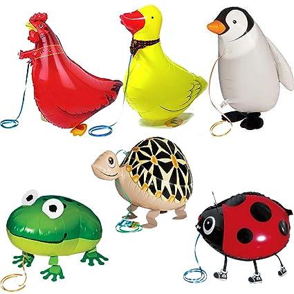 amazon com walking animal balloons farm animals 6 pack animal