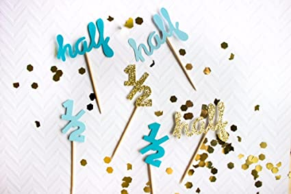 Amazon 1 2 Birthday Cake Topper Half Cupcake Toppers