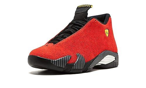 94987bf270efe8 Nike Mens Air Jordan 14 Retro Ferarri Chilling Red Black-Vibrant Yellow  Suede Athletic