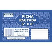 Ficha Pautada 5x8 12.7x20.3cm, São Domingos, Multicor, pacote de 100