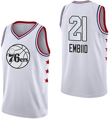 AKCHIUY Camiseta De Baloncesto De Los Hombres, Joel Embiid # 21 NBA Philadelphia 76ers, Nueva Camiseta Bordada De Tela Swingman Jersey,White-M: Amazon.es: Hogar