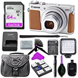Canon PowerShot G9 X Mark II Digital Camera (Silver) with Built-in Wi-Fi & Bluetooth w/3 inch LCD with 64GB SD Memory Card + Mini Stable Tripod and Grip + LED Video Light Accessory Bundle