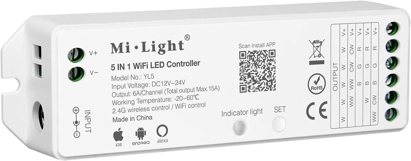 LIGHTEU®, controlador de tira LED WiFi 5 en 1 Mi-light, control de voz Amazon Alexa, remoto y control APP, compatible con un solo color, CCT, RGB, RGBW y RGB + modo de salida CCT, DC12-24V, YL5