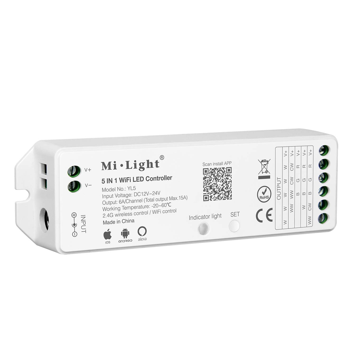 LIGHTEU®, Milight WiFi Led Controller Wireless RF2.4GHz  Echo Alexa Voice Control, WiFi Wireless Control and Smartphone APP Control Compatible with for Mi-Light Series Product, YT1