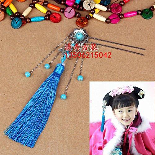 (usongs Chinese national wind blue tassel hairpin headdress step shake Han Chinese clothing Qing sweetheart princess tiara hair)