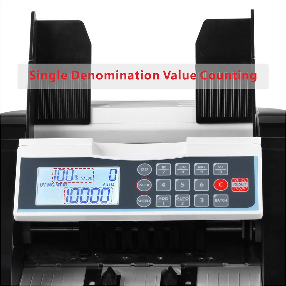 Black+LCD Display Bill Counter UV//MG//IR//DD Detection Money Counter Selected Single Denomination to Calculate Total Value for US Dollar Cash Counting Machine Banknote Counter Business Grade Currency