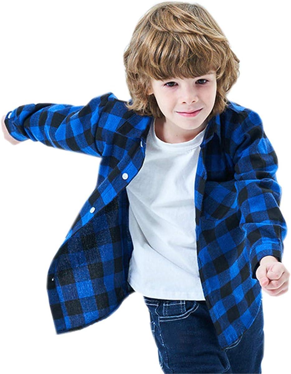 Betusline Boys Button Down Plaid Shirt