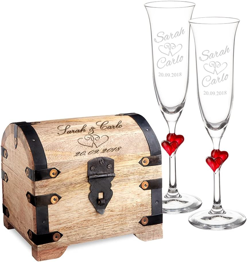 Casa Vivente Set Cofre de Madera Clara y 2 Copas de Champagne Juego Personalizado con 2 Nombres y Fecha Motivo Corazones