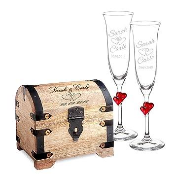 Casa Vivente - Set de Regalo para Boda - Cofre de Madera Clara y 2 Copas de Champagne con Corazones - Regalos Originales para Bodas - Regalos para Novios: ...