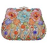 Fawziya Rose Clutch Purse Luxury Crystal Evening Clutch Bags-Orange