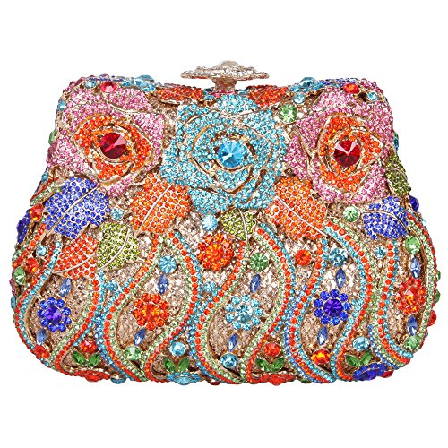 Bonjanvye Delicate Evening Bags Crystal Clutch Girls for Studded Rose Bag Orange Colorful ARrOqAfw