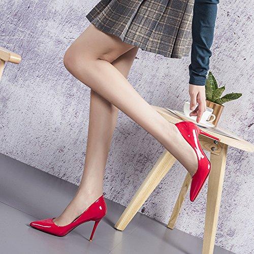 Sexy Rouge Sauvage EU Mode Red avec Profonde Cuir Talons Bouche Travail 34 2 Amende Chaussures UK Peu Nightclub 9cm Hauts Verni Parti Mariage Court en Le Femme vwXqfv