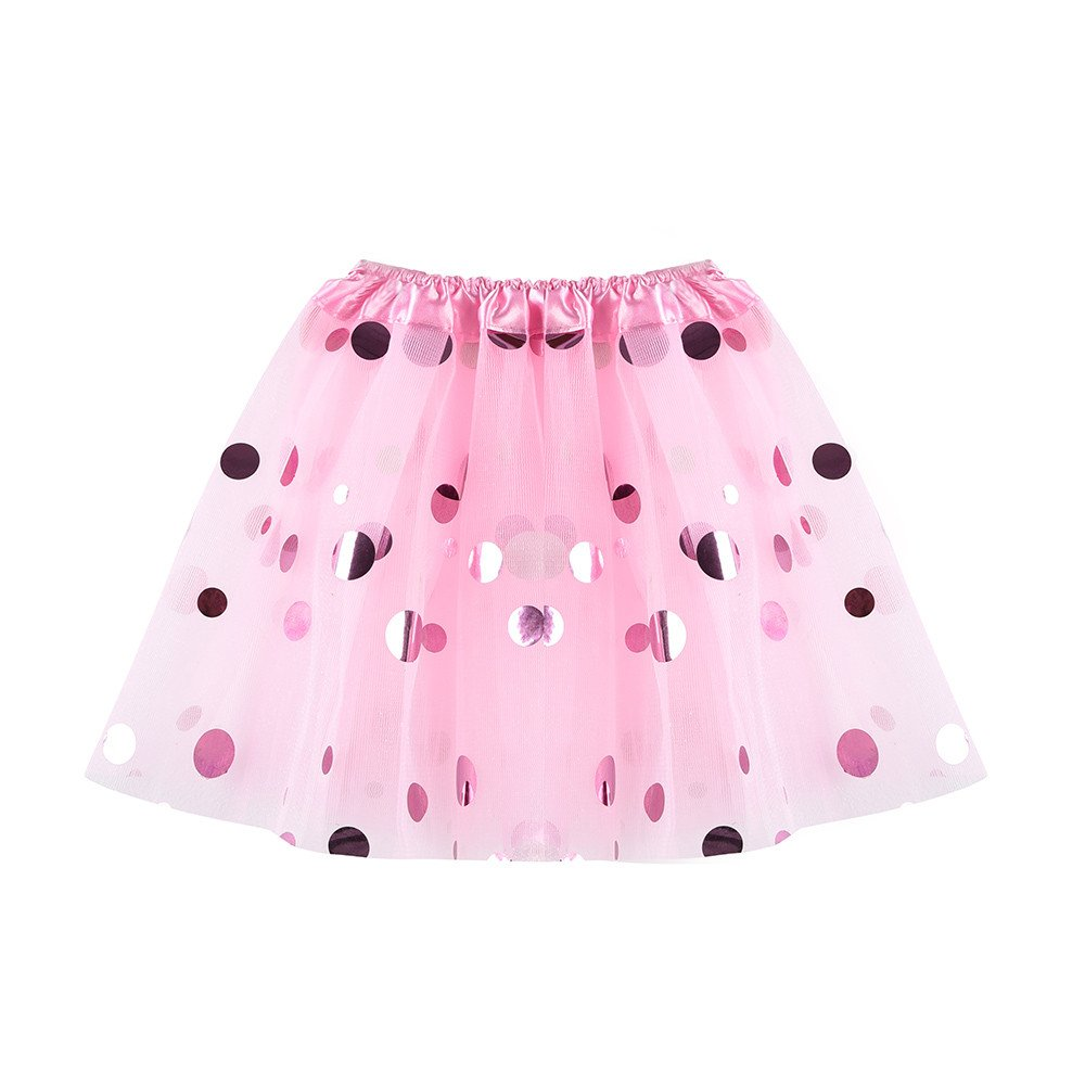 Girls Ballet Tutu Skirts Dancewear Polka-Dot Foil Tulle Skirt Dress Costumes for Teen Girls Yamally (One Size (3-8T), Pink)