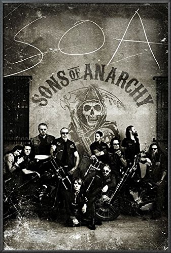Sons Of Anarchy - Framed TV Show Poster / Print (The Gang - Vintage / Retro Design) (Size: 24