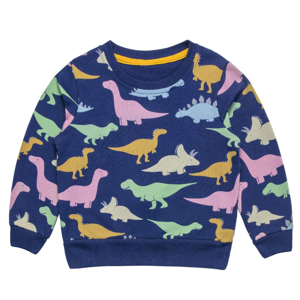 ACESTAR Boys Sweatshirt Pullover Cotton Dinosaur Print Long Sleeve Shirt Tops (24M-6T)