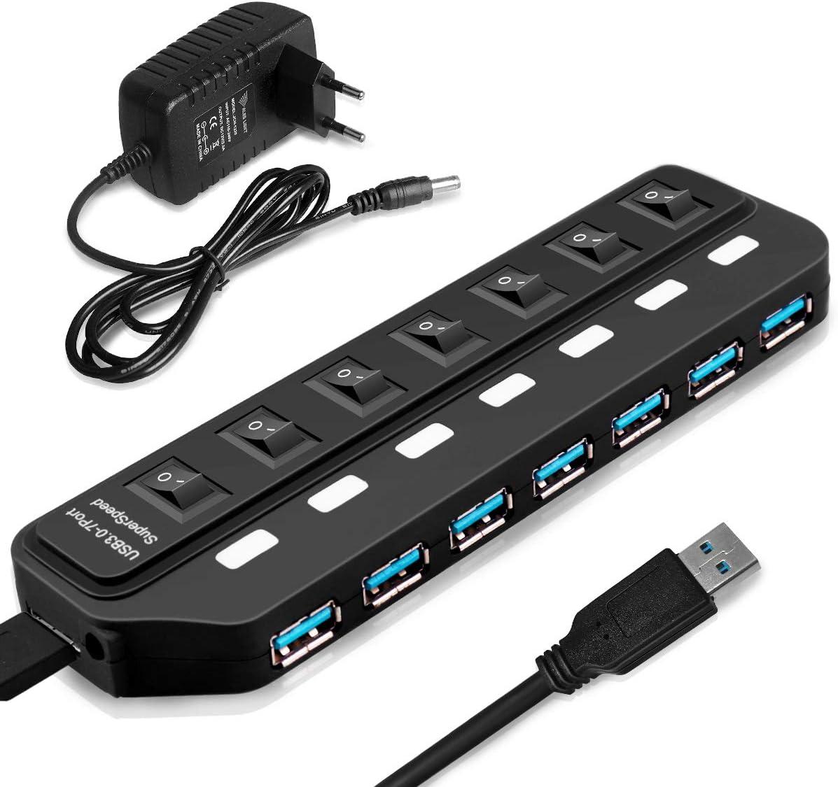 GROOFOO Hub USB 3.0 Alimentado de 7 Puertos Concentrador de Datos USB Divisor con Interruptores Individuales y Adaptador de Corriente Compatible con Windows/Mac/Linux