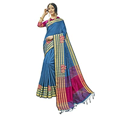 a137810c13600b Image Unavailable. Image not available for. Color  Tulip Cotton Silk Sky  Blue Festival Wear Woven Traditional Saree