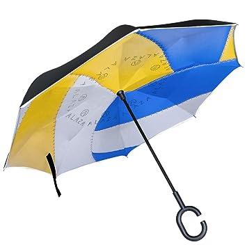 ALAZA - Paraguas reversible de voleibol invertido de doble capa resistente al viento, color azul