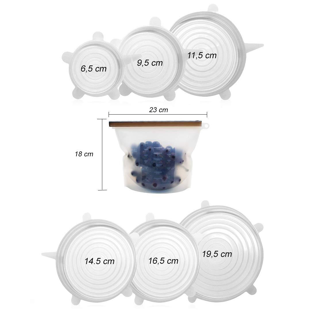 Fundas para Tazones Blanco Cubierta De Mantenimiento Fresco Azul Shurit Tapas Silicona Ajustables Cocina Universal El/ásticas 6 Set Extensible Reutilizable Herm/ético para Horno Microondas