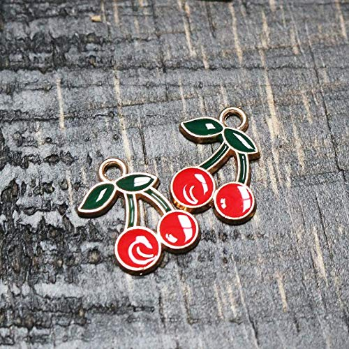 Jewelry Making Made Easy Set of 5, Cherry Charm, Fruit Cherry Charm, Gold Charm, Enamel Charm, Metal Charm, Fruit Charm, Cute Charms, 18mm x ()