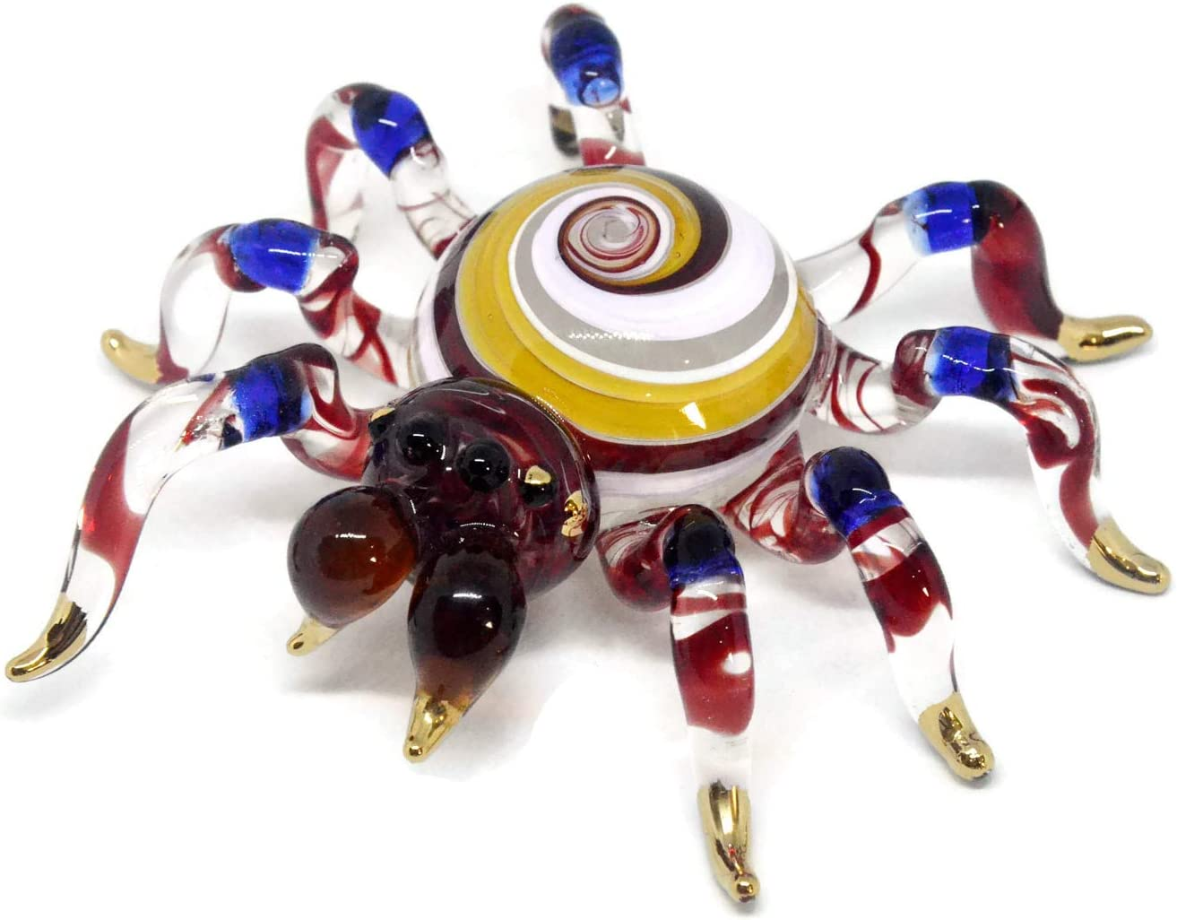 NaCraftTH Colorful Spiders Insect Glass Figurines Murano Glassblowing Artwork Handmade Figure Home Decorations Garden Ornaments