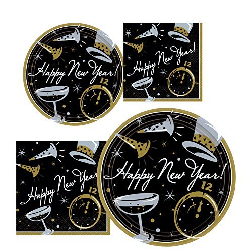 New Years Eve Black Tie Affair Party Pack for 25 - 50 Guests (Plates, Napkins - 300 total pieces)
