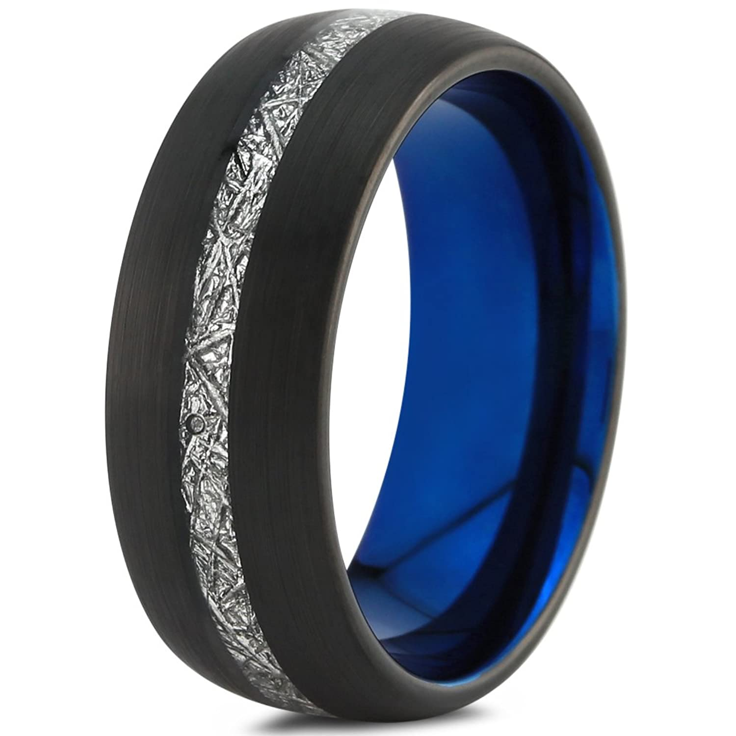 Tungsten Wedding Band Ring 8mm for Men Women Black Blue Grey Meteorite Inlay Dome Brushed Polished Center Line