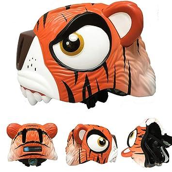 LIDAUTO Casco de Bicicleta para niños Ajustable Tigre 49-55cm,Orange-Tiger
