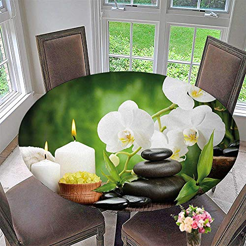 Mikihome Modern Table Cloth Zen Stones with Orchid
