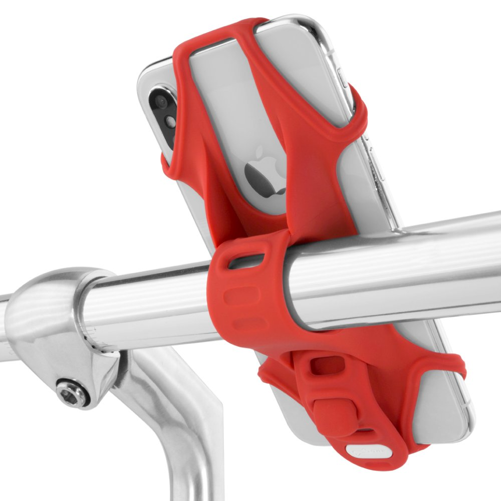 Bike Phone Mount, Universal Bicycle Handlebar Stroller Holder for iPhone X 8 Plus 7, Samsung Galaxy S9 S8 S7 Note 8, Up to 6.5 Inch Cell Phone Android Smartphone, BIKE TIE 2 (2nd Generation) - Red