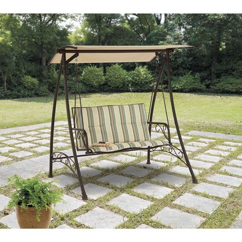 Mainstays Caldwell House Padded Swing, Stripe, Seats 2 Review