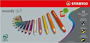 Stabilo Woody 3 in 1, 18-Color Set
