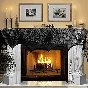MACTING 18 x 96 inch Cobweb Fireplace Scarf Mysterious Lace SpiderWeb Mantle Lace Runner Fireplace Scarf Festive…