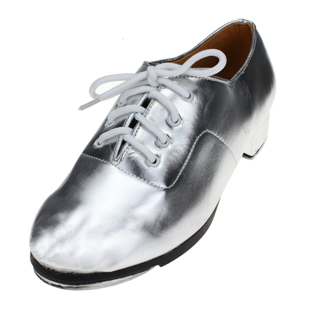 Lace up Tap Shoe for Big Kid,Silver,7 M US