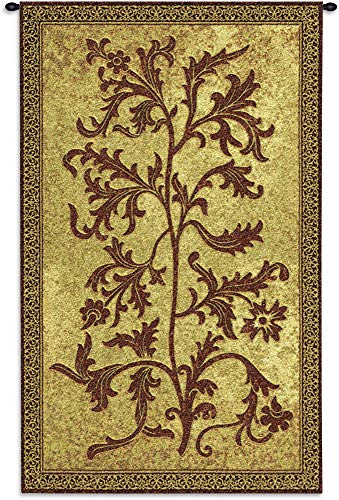 William Cotton Tapestry - Acanthus Vine by William Morris | Woven Tapestry Wall Art Hanging | Thrush Birds Stealing Fruit Intricate Floral Design | 100% Cotton USA Size 42x25