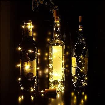 LEDMOMO Luces de botella, luces de cadena de corcho a prueba de agua para la botella de vino Luces de hadas luces de cable de cobre LED para la decoración de fiesta de boda (luz rosa)