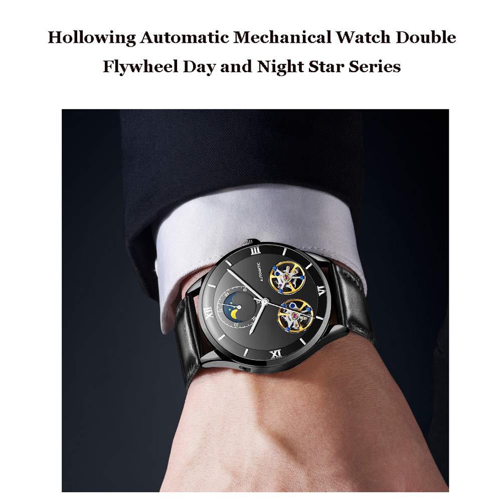 N·XHXL Automatisk mekanisk klocka för män, cool ihåligt dubbelt svänghjul vattentät business casual armbandsur dag och natt stjärna serie manlig klocka b
